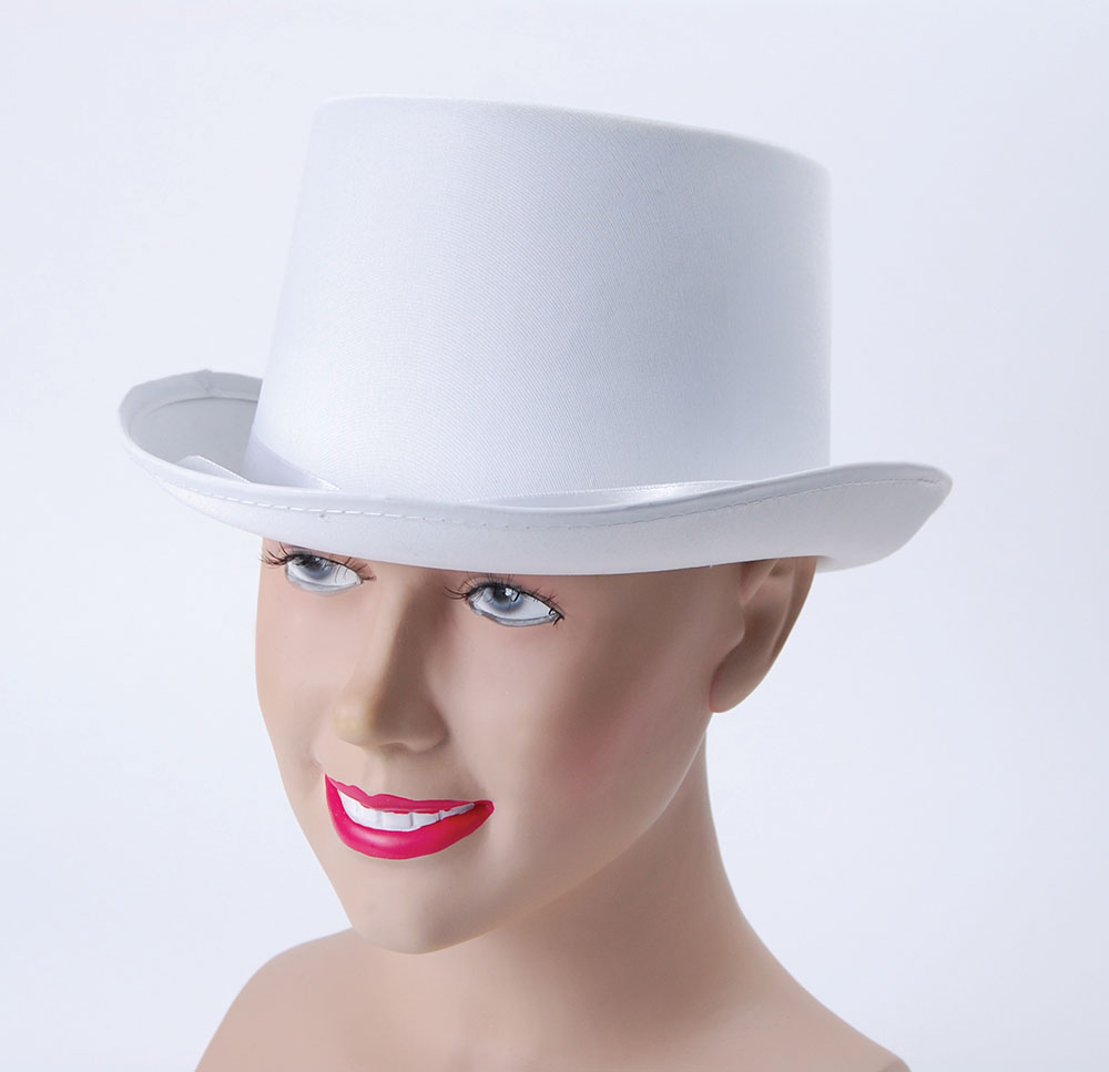 Top Hat. White, Satin Look