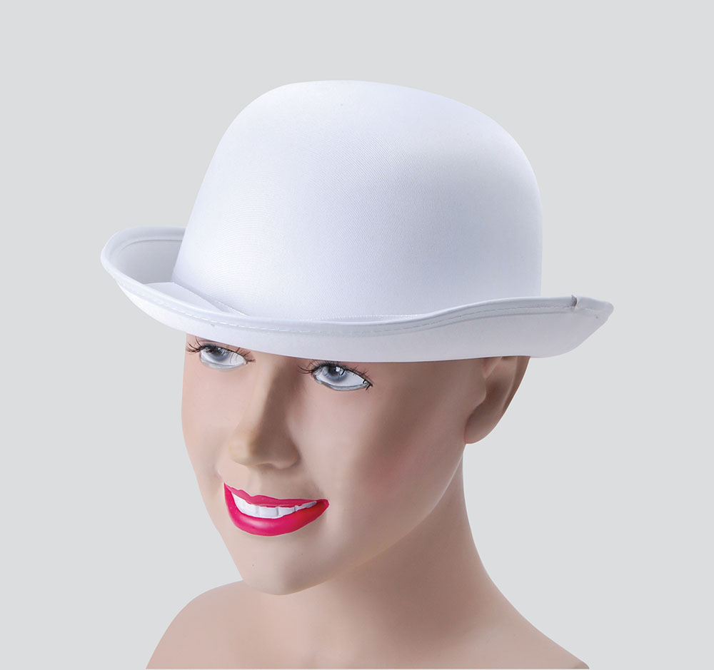 Bowler Hat. White, Satin Look