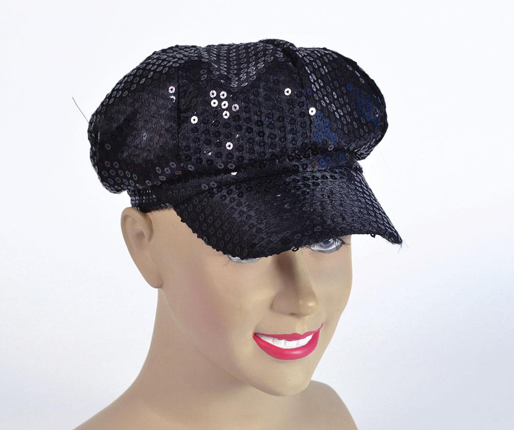 Sequin Cap. 80s Style Black