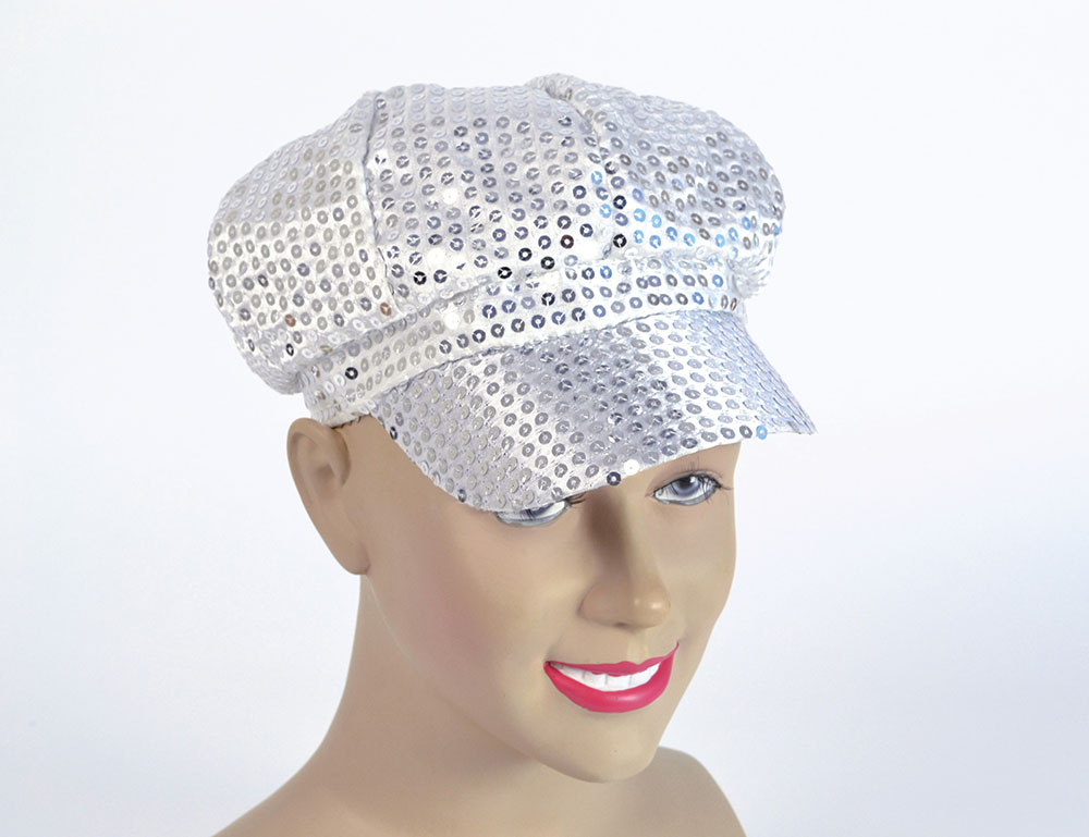 Sequin Cap. 80s Style Silver