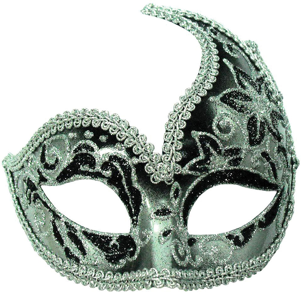 Decorative Half Mask. Silver/Black