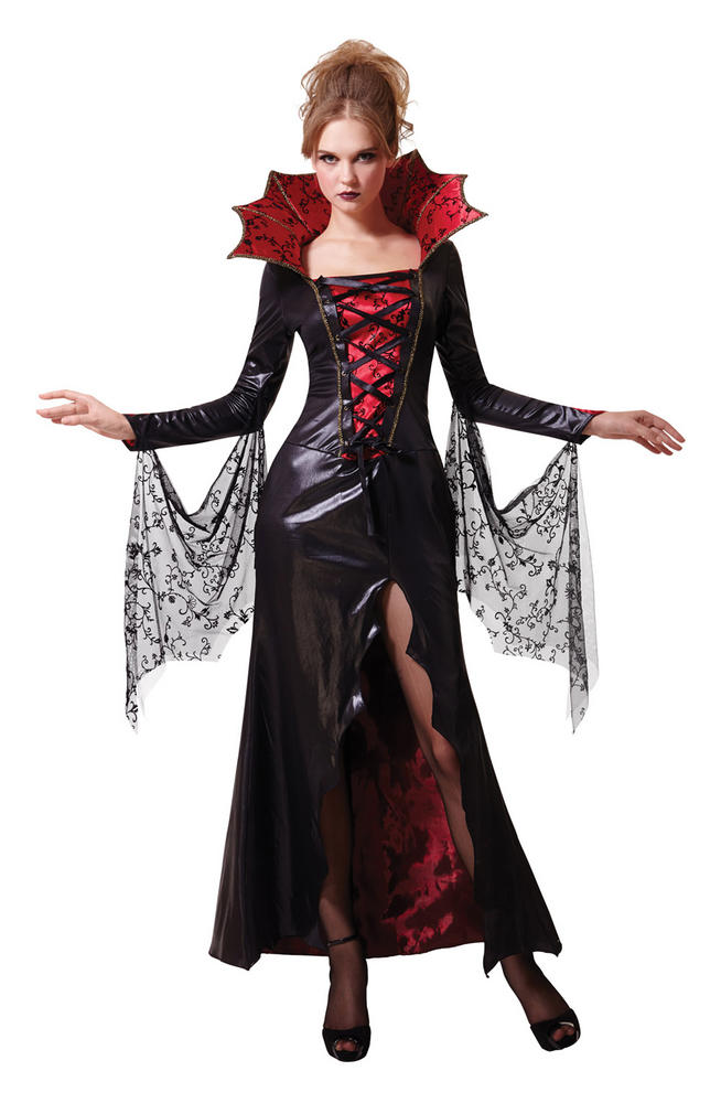 Womens Halloween Midnight Vampiress Costume Ladies Fancy Dress Outfit