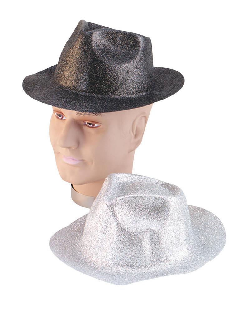 Glitter Silver Plastic Trilby