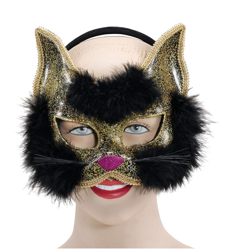 Glitter Cat Mask Black on Hband