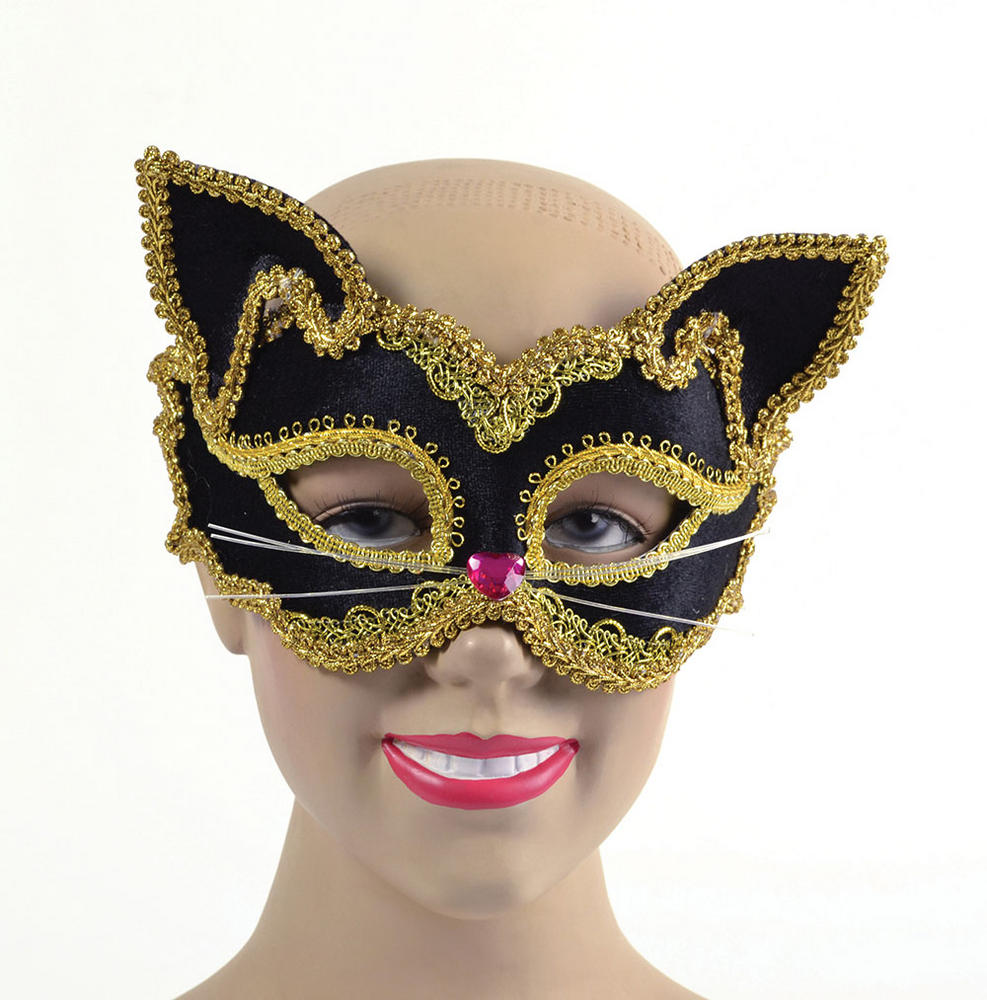 Black/Gold Cat Mask. Glass Frame