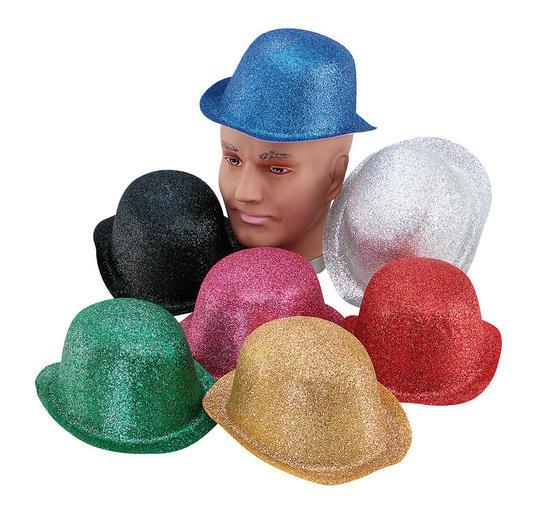 Glitter Cerise Plastic Bowler Thumbnail 1