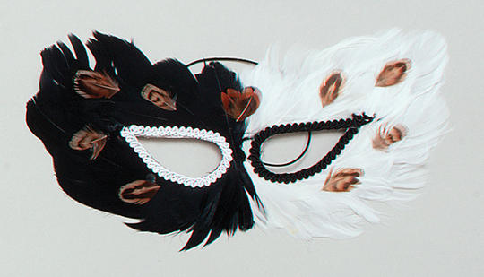 Feather Eye Mask. Black/White Thumbnail 1