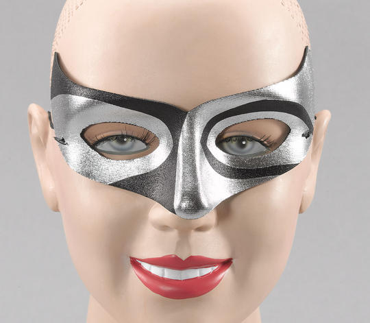 Silver/Blk Macumba Style Eye Mask Thumbnail 1