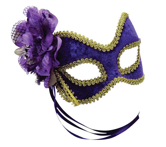 Purple/Gold + Flower Mask Thumbnail 1