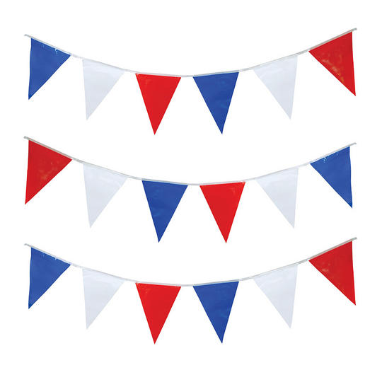 Bunting 7m Red/White/Blue Triangles x 25 Thumbnail 1
