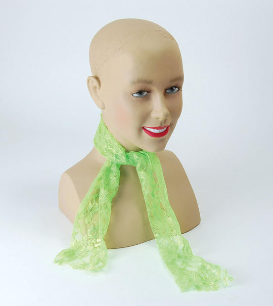 80s Neon Lace Scarf. Green Thumbnail 1