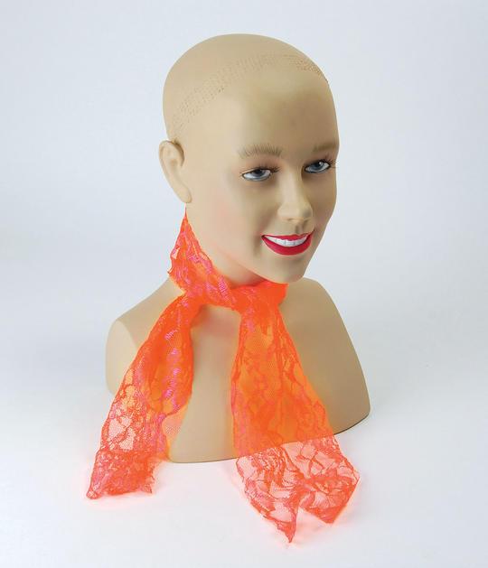 80s Neon Lace Scarf. Orange Thumbnail 1