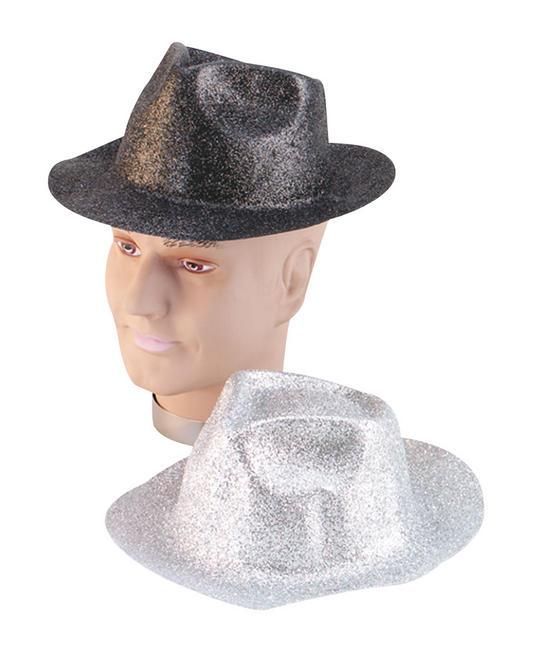 Glitter Silver Plastic Trilby Thumbnail 1