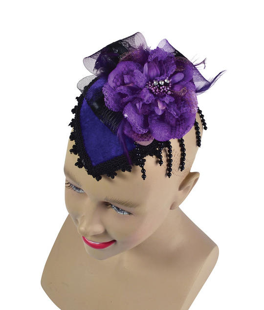 Fancy Mini Hat with Comb. Purple Thumbnail 1
