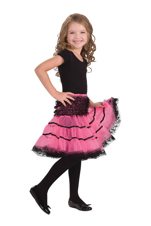 Childs Crinoline Slip. Pink and Black Thumbnail 1