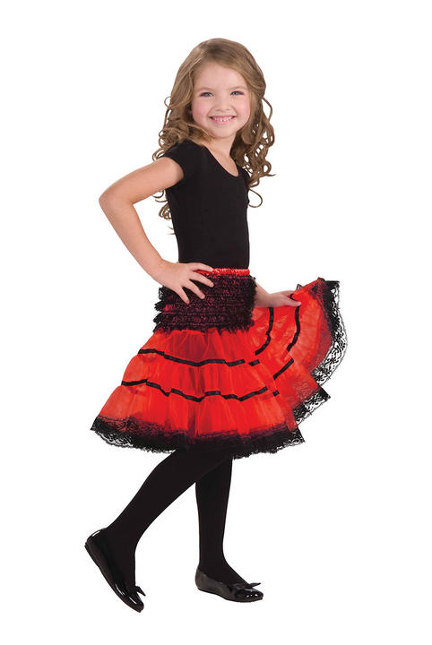 Childs Crinoline Slip. Red and Black Thumbnail 1