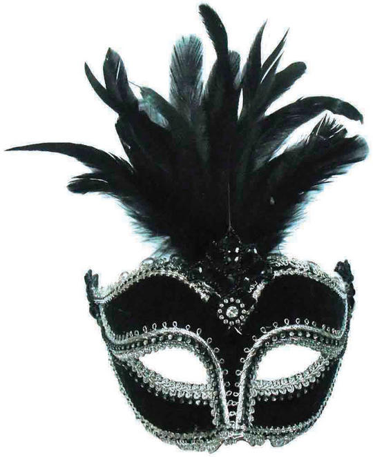 Black Velvet Mask / Tall Feather Thumbnail 1