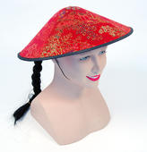 Chinese Coolie Red Fabric Hat + Plait