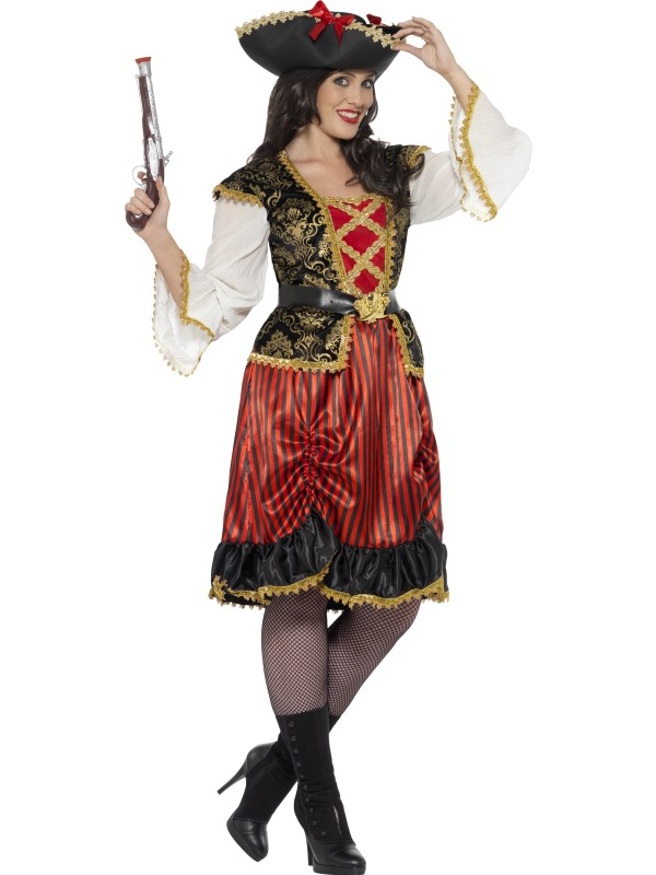 Women's Curves Pirate Lady Fancy Dress Costume