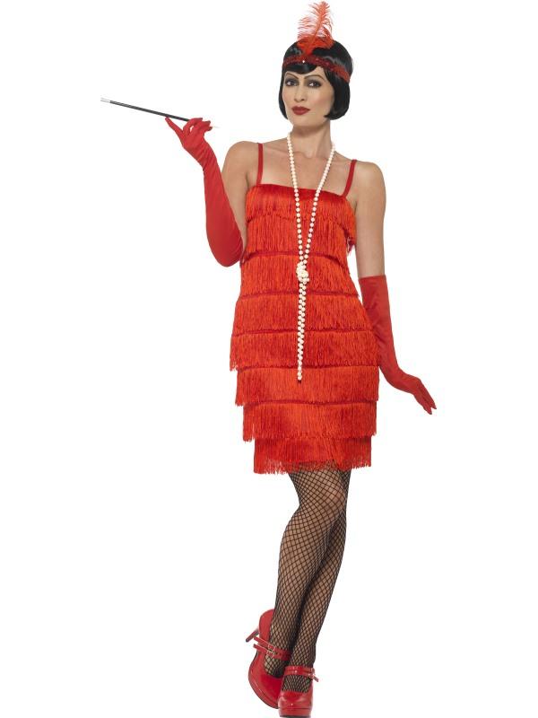 Women's Red Flapper Fancy Dress Costume