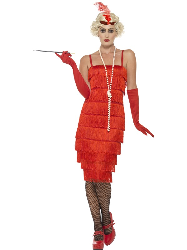 Women's Red Flapper Longer length Costume