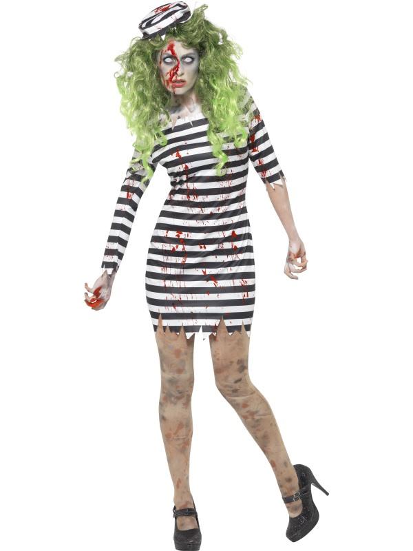 Women's Zombie Jail Bird Fancy Dress Costume