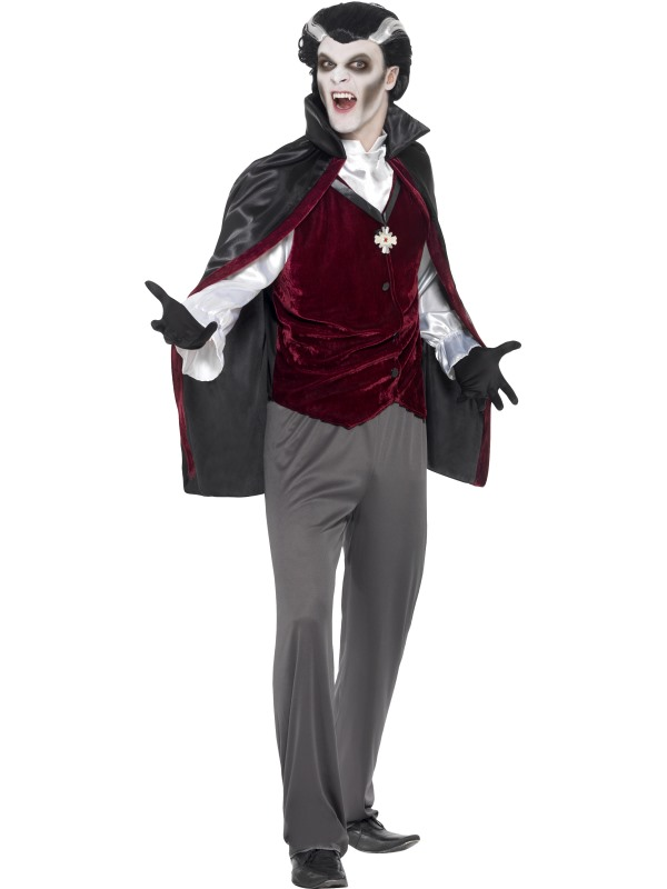 Mens Halloween Dracula Vampire Costume Gents Fancy Dress Outfit