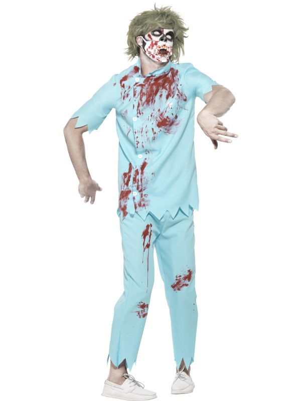 Mens Halloween Horror Dentist Costume Gents Fancy Dress Outfit