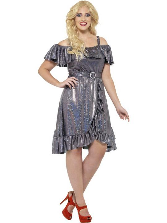 Women's Curves 70's Disco Diva Fancy Dress Costume Thumbnail 1