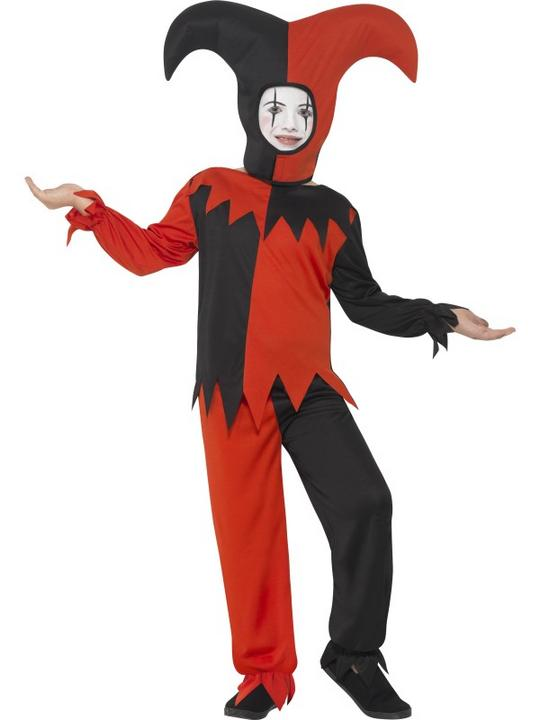 Boys Halloween Twisted Jester Costume Kids Horror Fancy Dress Outfit Thumbnail 1