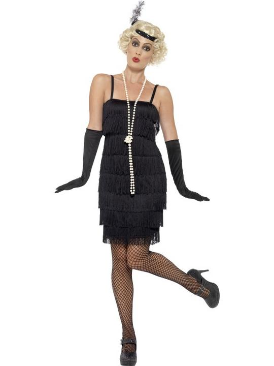 Women's Black Flapper Fancy Dress Costume Thumbnail 1
