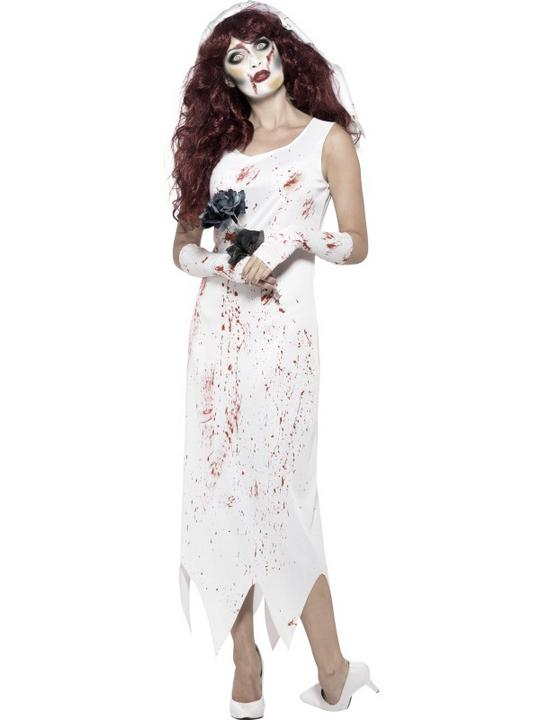 Womens Halloween Zombie Bride Costume Ladies Horror Fancy Dress Outfit Thumbnail 1