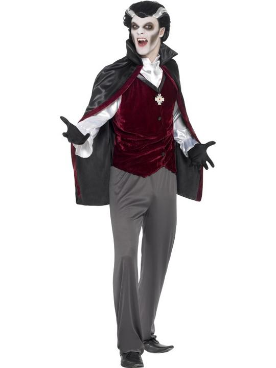 Mens Halloween Dracula Vampire Costume Gents Fancy Dress Outfit Thumbnail 1