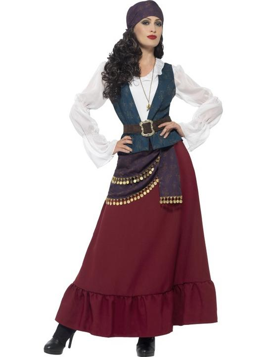 Women's Pirate Buccaneer Beauty Fancy Dress Costume Thumbnail 1