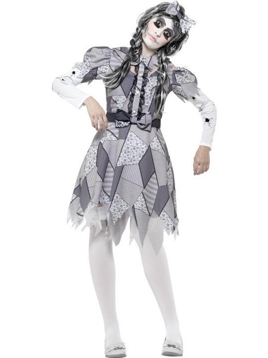 Women's Damaged Doll Fancy Dress Costume Thumbnail 1