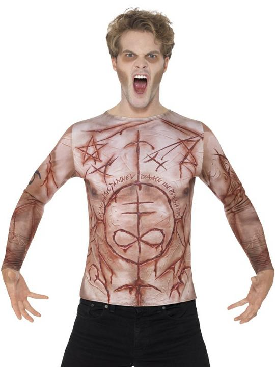 Mens Halloween Mutilated Skin T-Shirt Gents Fancy Dress Costume Thumbnail 1