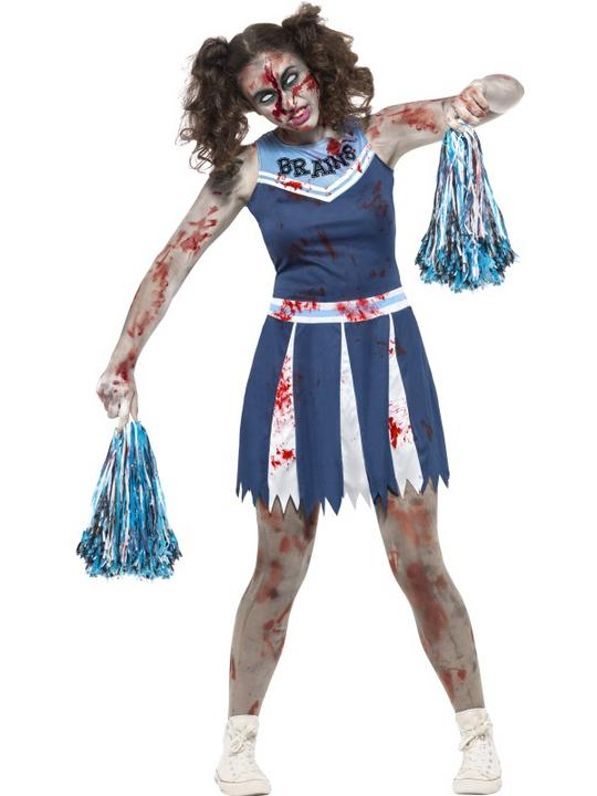 Teen Halloween Zombie Cheerleader Costume Kids Horror Fancy Dress Outfit Thumbnail 1
