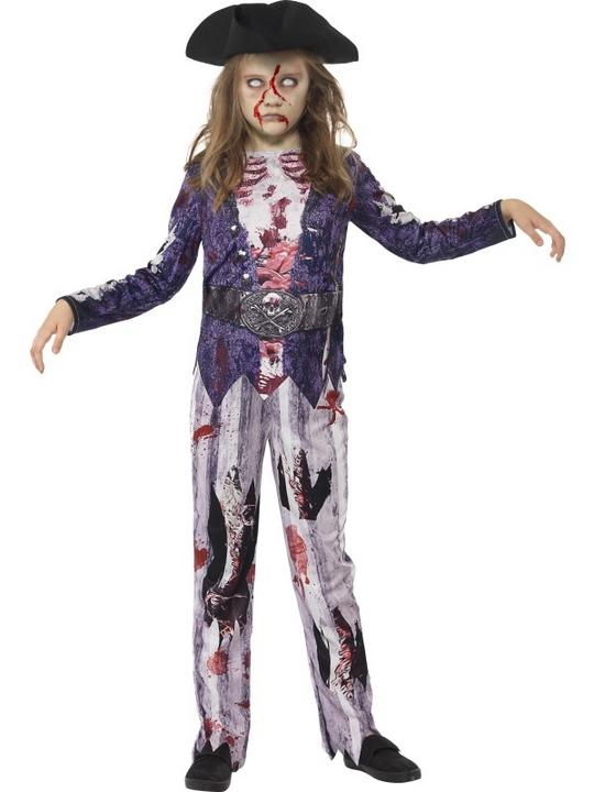 Girls Halloween Deluxe Jolly Rotten Zombie Pirate Costume Kids Fancy Dress Thumbnail 1
