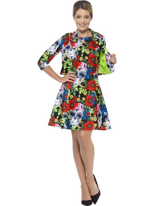 Womens Halloween Day of the Dead Dress Fancy Dress Costume Outfit Thumbnail 1