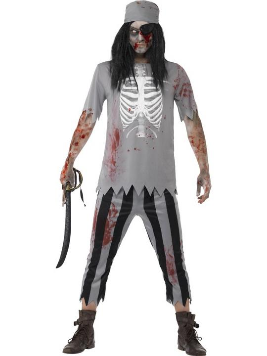 Mens Halloween Zombie Pirate Costume Gents Halloween Fancy Dress Outfit Thumbnail 1