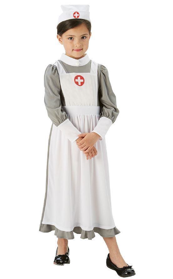 Girls Book Week World War 1 Nurse Costume Kids Fancy Dress Outfit