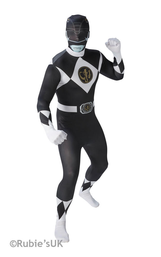 Men's Black Ranger 2nd Skin Fancy Dress Costume
