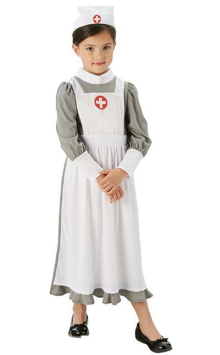 Girls Book Week World War 1 Nurse Costume Kids Fancy Dress Outfit Thumbnail 1