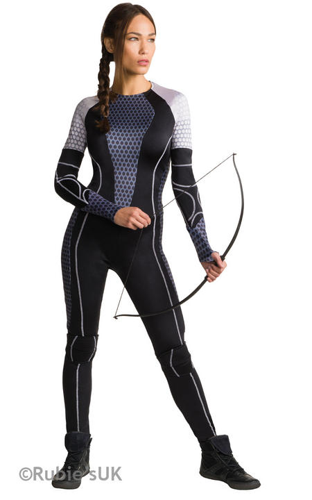 Official Katniss Costume Ladies Licensed The Hunger Games Halloween Fancy Dress Thumbnail 1