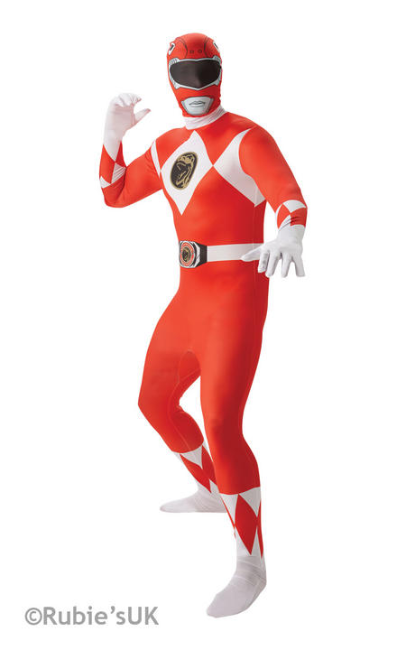 Men's Red Ranger 2nd Skin Fancy Dress Costume Thumbnail 1