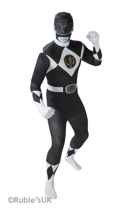 Men's Black Ranger 2nd Skin Fancy Dress Costume Thumbnail 1
