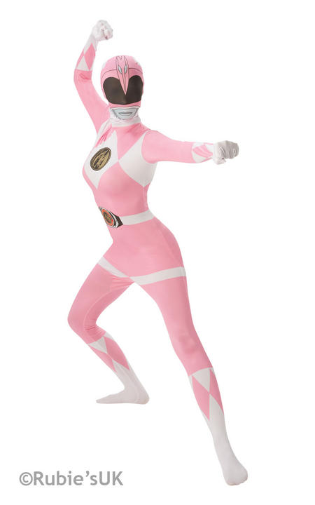 Pink Ranger Costume Ladies 2nd Skin Power Rangers Fancy Dress Hen Party Outfit Thumbnail 1