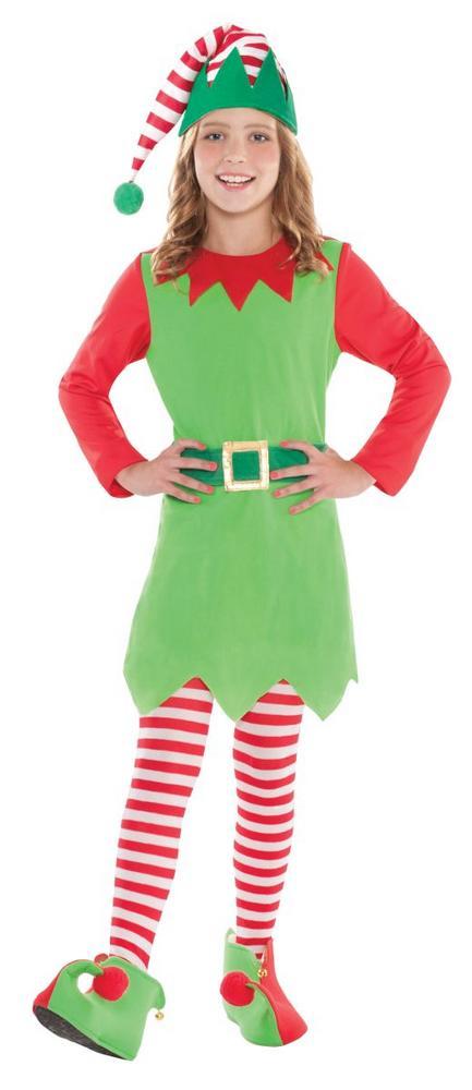 Girl's Merry Elf Fancy Dress Costume