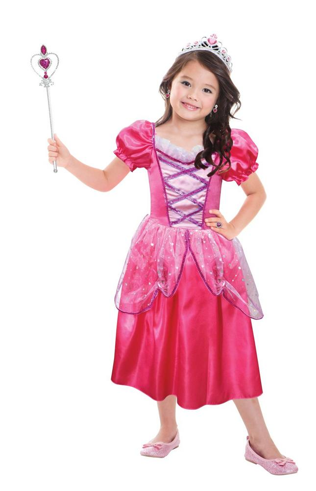 Girls Hot Pink Princess Costume Set Fancy Dress