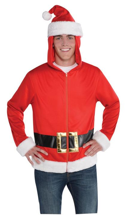 Men's Santa Hoodie Fancy Dress Costume Thumbnail 1
